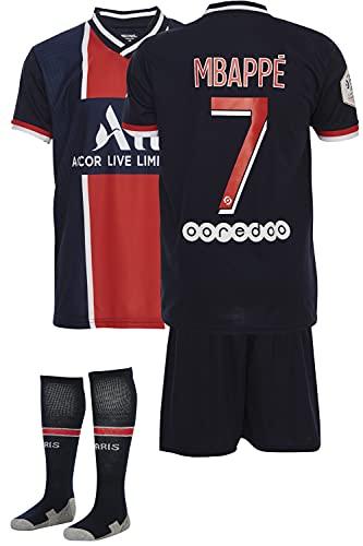 AMD SPORTS Paris 2020-21 Home Maillots de Football pour Enfants Mbappe avec des Chaussettes Et des Shorts, (Tailles Enfants 2-14 Ans)… (Mbappe Home, 128)