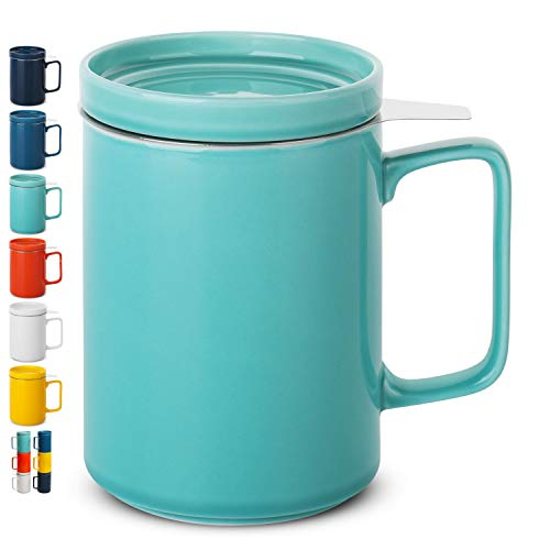 BTaT- Tea Cup with Lid, Tea Infuser Cup, 500ml 16oz Mug (Teal), Tea Cup with Stainless Steel Filter, Tea Cup with Infuser, Tea Mugs with Infuser and Lid, Tea Gifts for Tea Lovers, Tea Infuser Mug