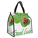 Y-shop Going Away Party Decorations Lucky Symbols Four Leaf Clover with Ladybug Irish Charm Green Red Black Picnic Freezer Bag,Large Insulated Cooler Bag Picnic Camping Beach Tour BBQ 30l