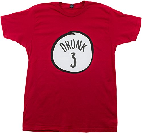 Drunk 3   Funny Drinking Team, Group Halloween Costume Unisex T-Shirt-Adult, M Red