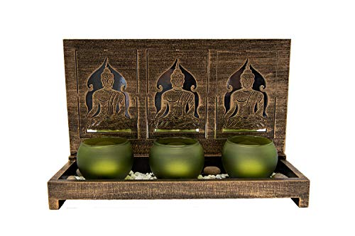 Teelichthalter Buddha mit 3 Teelicht Gläsern Kerzenhalter Tischdeko Wohnzimmer Dekoration 29 cm