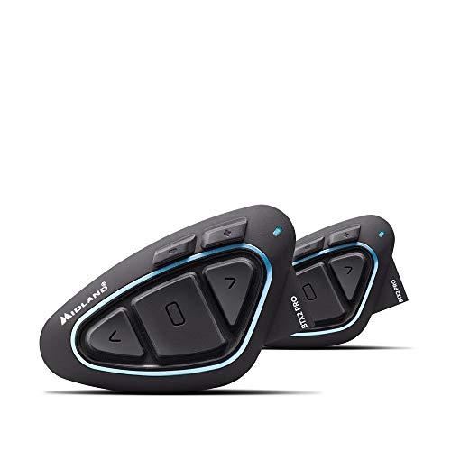 Midland BTX2 Pro Twin - Interfono para Moto con Bluetooth, par Impermeable, Auriculares con cancelación de Ruido para comunicación de Moto de hasta 1 km - 2 Auriculares