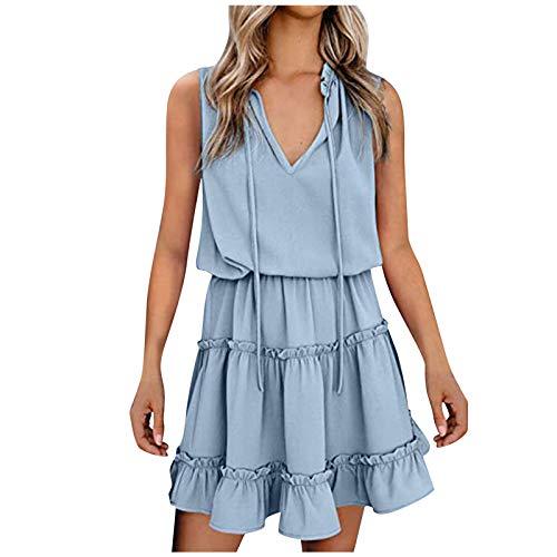 N-B Vestidos Verano Mujer Fiesta V-Cuello Camisetas sin Manga Suelto Falda Corta 5/10 Llanura Colores Casual Plisados Tallas Grande Trabajo Mujer Ropa