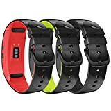 NotoCity Compatible with Samsung Gear Fit 2 Band Sport Silicone Wrist Strap for Samsung Gear fit2 Pro/Gear Fit 2 Smartwatch(Black-red,Black-Black,Black-Green, Small)