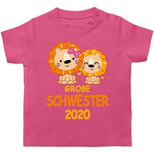 Shirtracer Geschwisterliebe Baby - Große Schwester 2020 mit Löwen - 18/24 Monate - Pink BZ02 - Baby T-Shirt Kurzarm