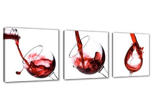 Visario 4219 Bilder und Kunstdrucke auf Leinwand Bild 150 x 50 cm, Wein Küche drei Teile