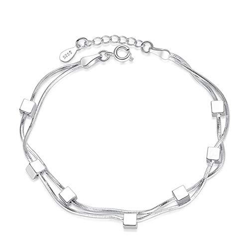 1 stuks armband dames meisjes zilver 925 mode dubbellaags vierkante armband eenvoudige bedelarmbanden geschenken voor vrouwen, mama, vriendin, dochter,