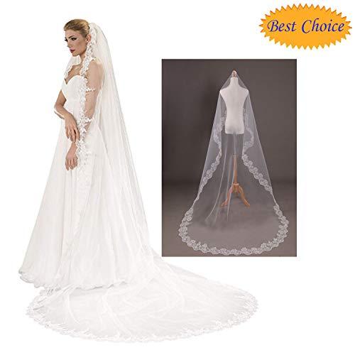 Velo de boda, elegante cinta simple de 1,5 m, encaje largo para novia, borde de velo de boda, novia, romántico, para novia, para despedida de soltera, novedad, accesorio divertido para disfraz.