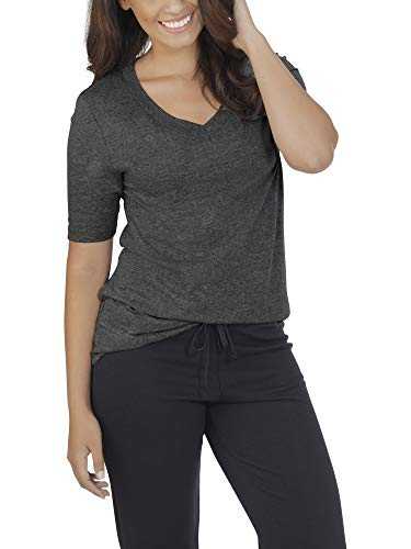 Fruit of the Loom Women's Essentials All Day Elbow Length V-Neck T-Shirt, Black Heather, Large