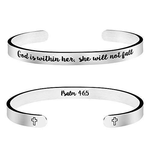 God is Within Her She Will Not Fall Psalm 46:5 Bible Verse Bracelet Inspirational Christian Gift for Her Birthday