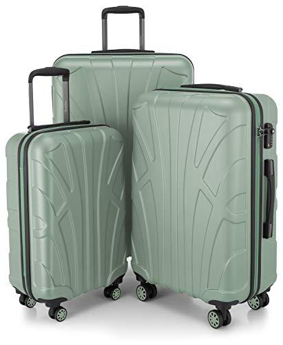 Suitline 3er Koffer-Set Trolley-Set Rollkoffer Hartschalen-Koffer Reisekoffer, TSA, (55 cm, 66 cm, 76 cm), 100% ABS, Matt, Mint