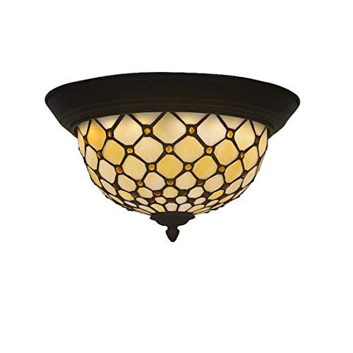 DALUXE Luz de Techo de Estilo Tiffany, lámpara de Techo manchada manchada Redonda, iluminación Moderna de Techo para la Sala de Estar de la Cocina