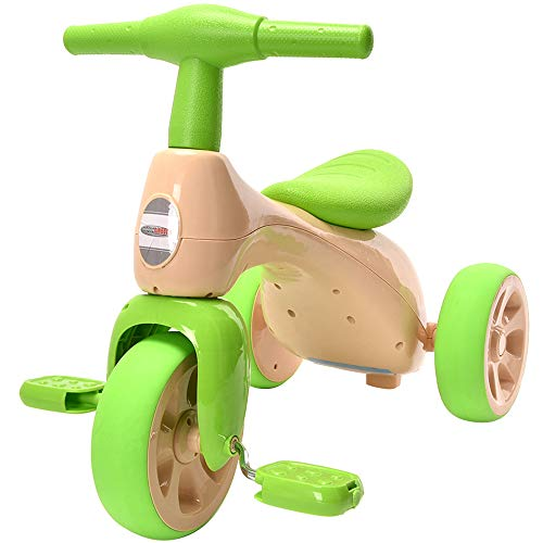 ChromeWheels Toddlers Tricycle, Baby Balance Bike Walker for Kids Tricycles Trike with BB Sound for 18-36 Months, Green