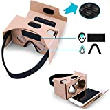 Multiple Complete Set of Google Cardboard V2 Version 2 Virtual Reality (VR) 3D VR Box for All Types of iPhone and Android Phone - Free Head Strap, Nose/Forehead pad and Sucker (1 Pack, Original)