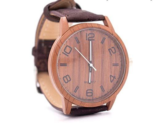 The Eco Owl reloj de corcho vegano reloj de pulsera de madera con correa de reloj de corcho marrón WA-111-B