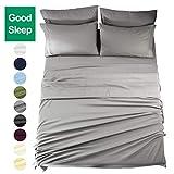 EASELAND Queen Size 6-Pieces Bed Sheets Set 1800 Series Microfiber Wrinkle & Fade Resistant,Deep Pocket,Hypoallergenic Bedding Set,Queen,Grey