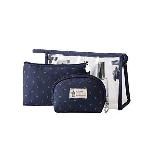 3PCS / Set Fashion Marque cosmétiques Sacs Waterproof Portable Trousse Femmes PVC Sac Voyage Sac de Toilette (Color : Blue)
