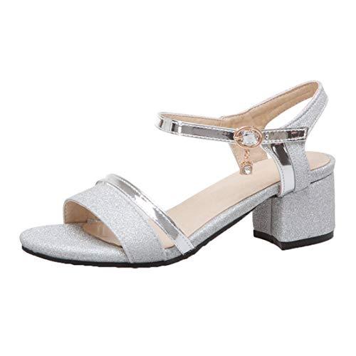 MISSUIT Damen Knöchelriemchen Sandalen Blockabsatz Glitzer Sandaletten mit Riemchen Absatz Schuhe(Silber,39)
