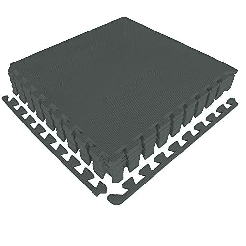 diMio Sport-Schutzmatten - Puzzlematten inkl. Randstücke in Blau, 8 Puzzleteile à 50x50cm, Trainingsmatte/Schutzmatte/Unterlegmatte/Fitnessmatte/Bodenschutz Matte - wasserfest (Dunkelgrau, 1er Set)