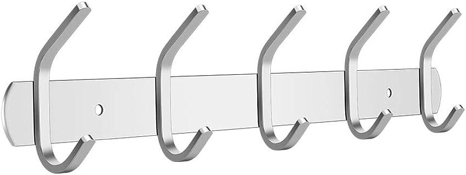 Garderobenhaken Edelstahl mit 5 Haken - Wand Moderne Hakenleiste Kleiderhaken Garderobe,Garderobenleiste Wandgarderobe für Jacken Kleidung Mütze Gürtel Schlüssel