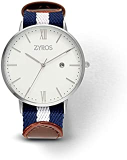 زايروس ساعة يد للرجال، انالوج بعقارب، قماش - ZAL021M117411