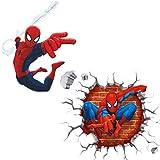 Kibi 2PCS Spiderman 3D Pegatinas Spiderman Pegatinas Decorativas Pared Spiderman Pegatinas de Pared de Spiderman Para Niños Decoración de la Pared Stickers Spiderman