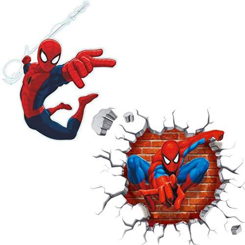 Kibi Spiderman 2PCS 3D-effekt Aufkleber Spiderman im Wanddurchbruch Loch Marvel's Spider-Man Ultimate Wandtattoo Kinderzimmer Spiderman Wandsticker Spiderman Wandaufkleber Spiderman