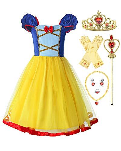 ReliBeauty Mädchen Elastische Taille Rückenfreie Prinzessin Schneewittchen Kleid Kostüm, Gelb, mit Zubehör, 110-116