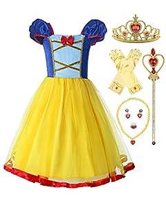 ReliBeauty Disfraz de Princesa sin Espalda con Cintura elástica niñas,con Accesorios (4-5,110)