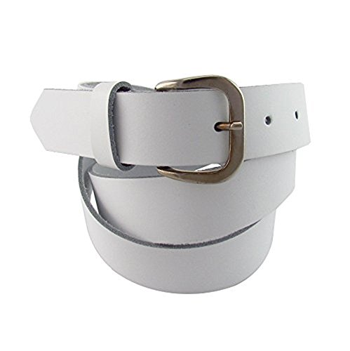 flevado XXL Gürtel Weiss extra Langer Leder Gürtel Bundweite 140, 150, 160 cm Übergrößengürtel mit Dornschließe (150 cm)