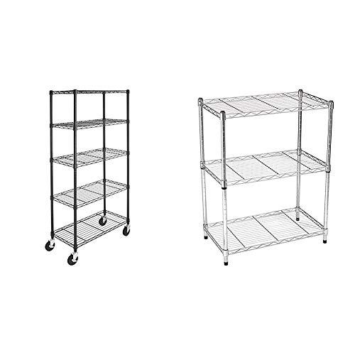 Amazon Basics 5-Shelf Shelving Unit on 4'' Casters, Black & 3-Shelf Shelving Unit, up to 115 kg per shelf, Chrome