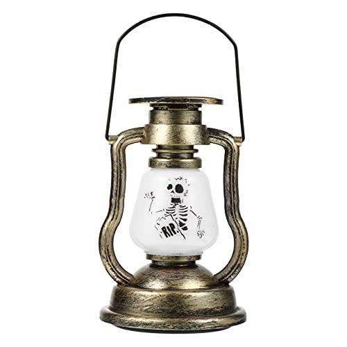 SOLUSTRE Solar Vintage Linterna Exterior Interior Esqueleto Calavera Colgante Keroseno Linterna Jardín Patio Colgante Noche Lámpara Paisaje Decoración Fiesta Ornamento