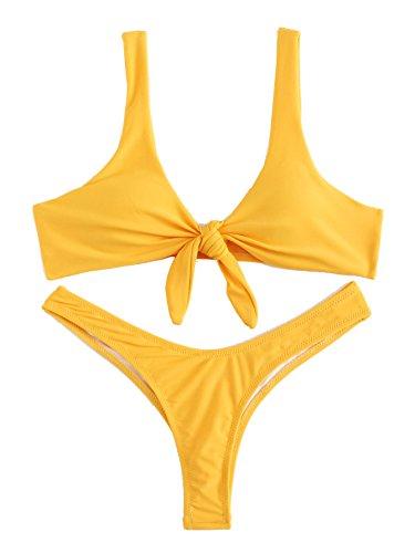 SweatyRocks Women's Sexy Bikini Swimsuit Soild Color Tie Knot Front Thong Bottom Swimwear Set Yellow S