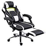 Hadwin Gaming <span class='highlight'>Chair</span> <span class='highlight'>Office</span> Desk <span class='highlight'>Chair</span> Racing <span class='highlight'>Chair</span> <span class='highlight'>Reclining</span> Leather Computer <span class='highlight'>Chair</span> Swivel <span class='highlight'>Office</span> <span class='highlight'>Chair</span> <span class='highlight'>with</span> Foot<span class='highlight'>rest</span>, Adjustable Head<span class='highlight'>rest</span> and Lumbar Support,White