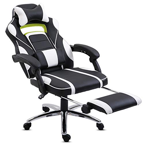 Hadwin Gaming Chair Office Desk Chair Racing Chair Reclining Leather Computer Chair Swivel Office Chair with Footrest, Adjustable Headrest and Lumbar Support,White
