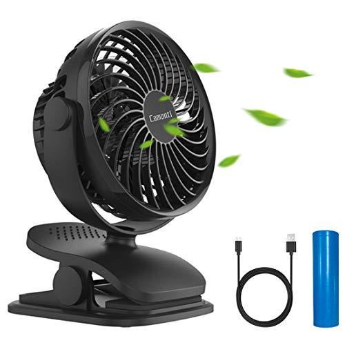 Camonti USB Ventilator mit Clip, Tischventilator sehr leise USB lufter, 4 Geschwindigkeitsstufen 360 Drehbare kleine Ventilator Wiederaufladbare Batterie für Büro/Zuhause/Reisen/Camping/Kinderwagen