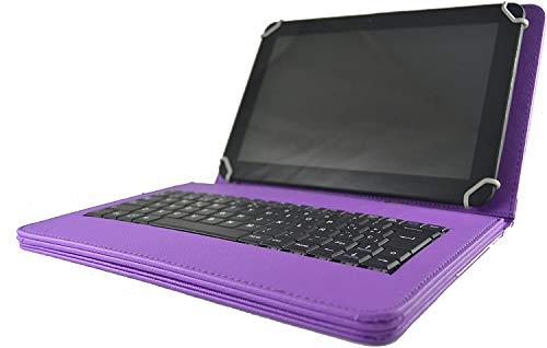theoutlettablet Funda con Teclado extraíble en español (Incluye Letra Ñ) para Tablet Samsung Galaxy Tab S5e 10.5' / Tab S6 Lite 10,4' / Tab S7 11' - Type-C Color Morado