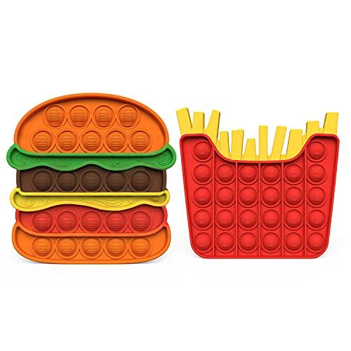 AKUDY Push Pop Bubble Fidget Toy, Sensory Fidget Toys for Kids Adults, One Side Louder Push Bubbles Pop, Fidget Popper Stress Reliever Toys-Chips and Burgers