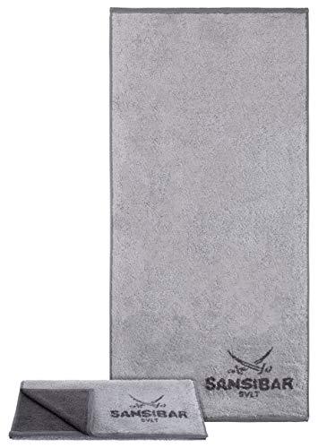 Sansibar Handtuch 2er Set 50x100 cm 100% Baumwolle Doubleface Frottiertuch Zweifarbig Silber/Anthrazit