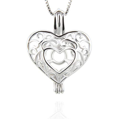 LGSY Sterling Silver Pattern Heart Locket Pendants for Women, Design Pearl Cage Pendants for DIY Pearl Jewelry Making Valentine's Gift