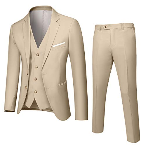 MY'S Men's Custom Made Bridegroom Wedding Tuxedo Suit Pants Vest Tie Set Beige Size 40R
