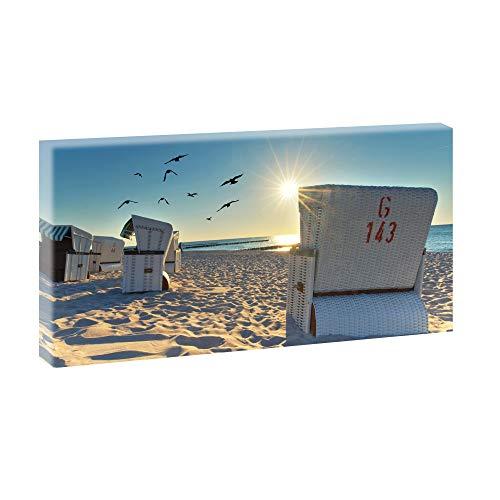 Bild auf Leinwand mit Nordseebild-Motiv Strandkörbe am Strand - 80x40 cm Wandbild im XXL-Format, Leinwandbild mit Kunstdruck ungerahmt, Landschaftsbild fertig auf Holzrahmen gespannt, Made in Germany