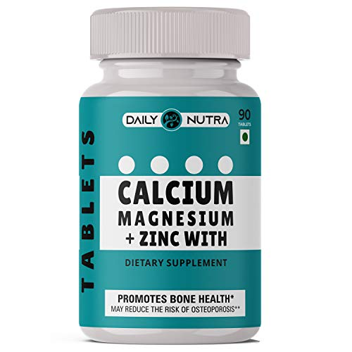 DAILY NUTRA calcium, Magnesium, Zinc with Vitamin D3 and B12 for men and women, Ideal for bone health, sports recovery and joint support – 90 Veg Tablets