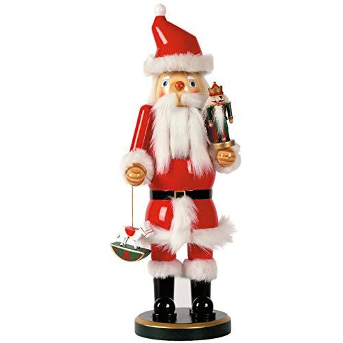 OBC-Kunsthandwerk Nussknacker Deko Figur Weihnachtsmann groß rot / 38 cm/Nussknacker Holzfigur/handbemalt im Erzgebirge Stil/weihnachtlich dekorieren
