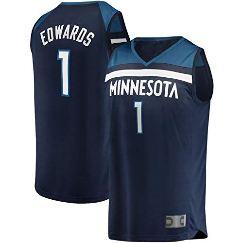 DFSFDS Timberwolves Minnesota Men's 2020 Season Basketball Anthony Edwards #1 Round Neck Draft Round Pick Fast Break Replica Jersey - Marina militar