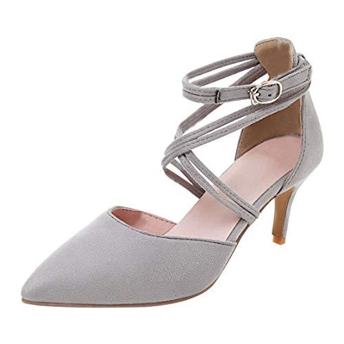 MISSUIT Damen Ankle Strap High Heels Stiletto Spitze Pumps mit Riemchen und Pfennigabsatz Schuhe(Grau,34)