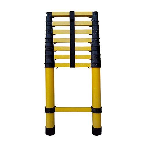 LADDER Escaleras telescópicas, Escalera telescópica de fibra de vidrio extra alta de 5M / 16.4 pies, Escalera no conductora de extensión de uso múltiple para trabajos pesados para carga de ingenier