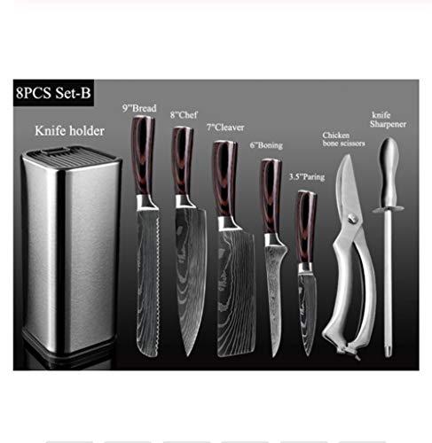1 stuks Chef Set roestvrij staal messen Professional Japanse Knife Santoku Cleaver Brood schilmesje Schaar Kitchen Tools (Color : 8PCS Set B)