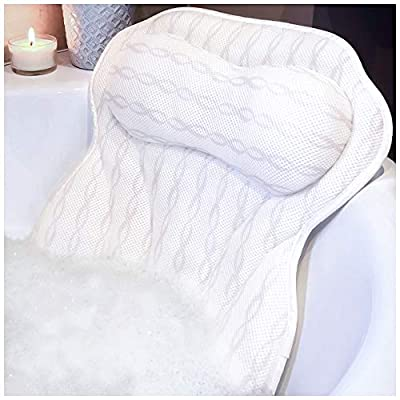 Luxury Bath Pillow Bathtub Pillow - Ergonomic Neck Support Like No Other - 3D Air Mesh Technology - Non Slip, Machine Washable & Quick Dry Bath Pillows for Tub