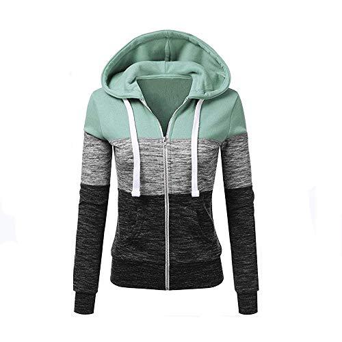 Newbestyle Jacke Damen Sweatjacke Hoodie Sweatshirt Pullover Oberteile Kapuzenpullover V Ausschnitt Patchwork Pulli mit Kordel und Zip (Grau, X-Large)